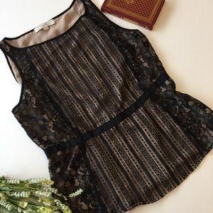 .LOFT. Black lace overlay sleeveless blouse